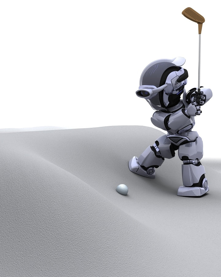 Robot With Club Playing Golf