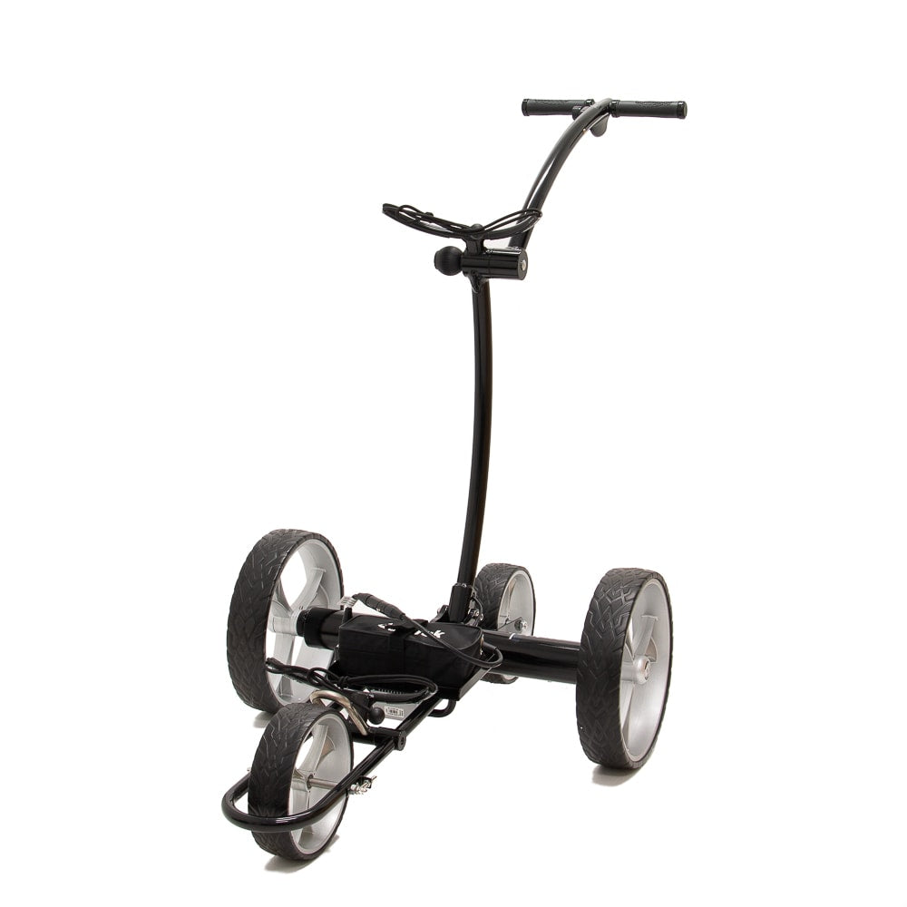 Best Selling and Value Cart Tek GRi-1500Li Black Remote Controlled Golf Caddie. Front Left Side View