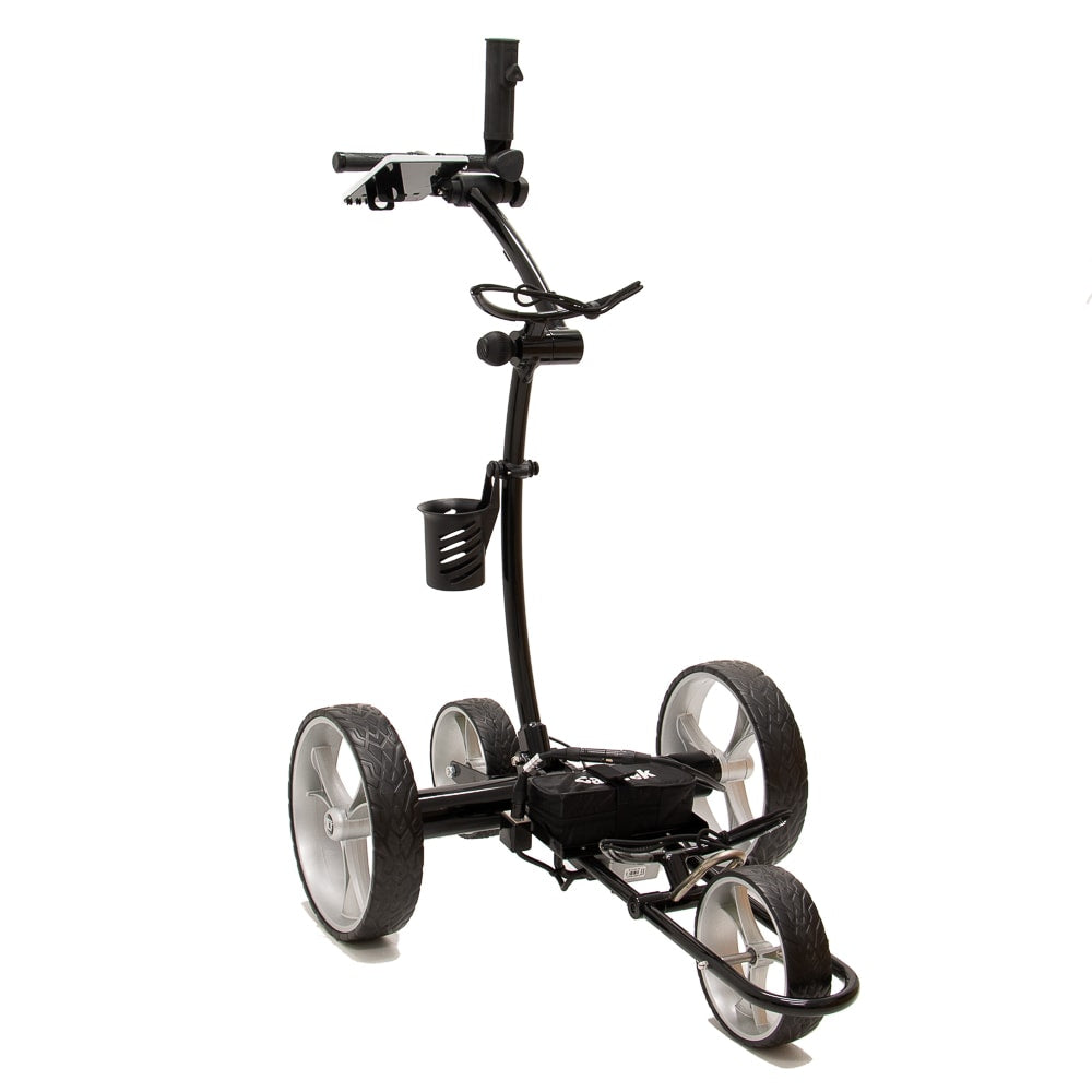 Best Selling and Value Cart Tek GRi-1500Li Black Remote Controlled Golf Caddie. Shown with included accessories. Front Right Side View