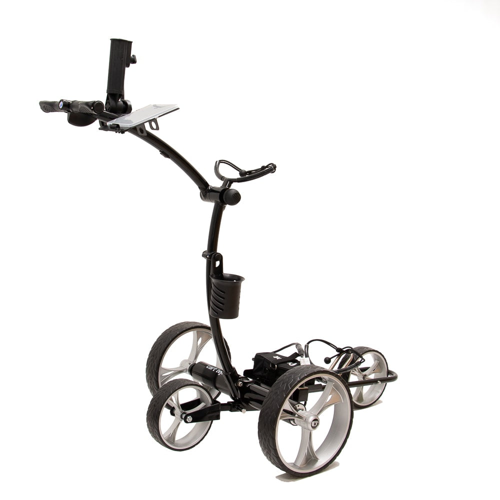 Best Selling and Value Cart Tek GRi-1500Li Black Remote Controlled Golf Caddie. Shown with included accessories. Rear Side View