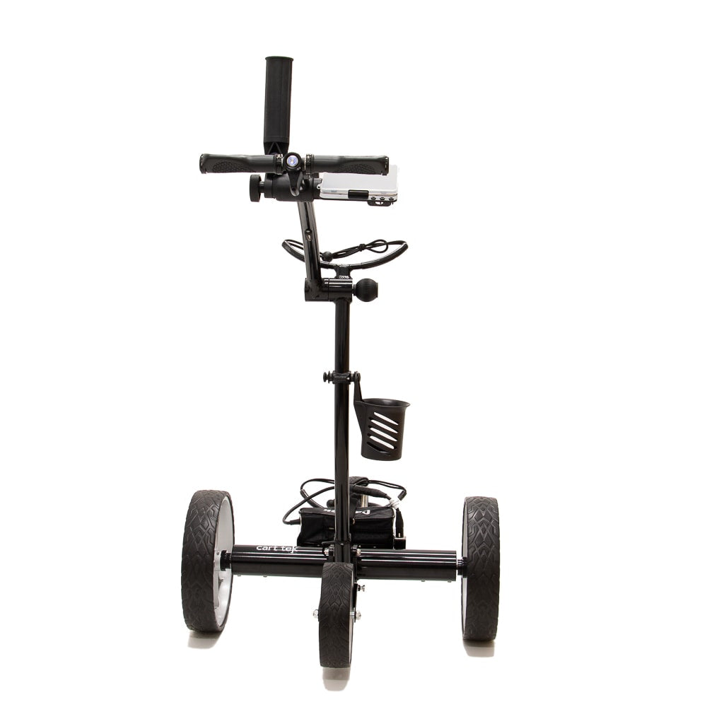 Best Selling and Value Cart Tek GRi-1500Li Black Remote Controlled Golf Caddie. Shown with included accessories. Rear View