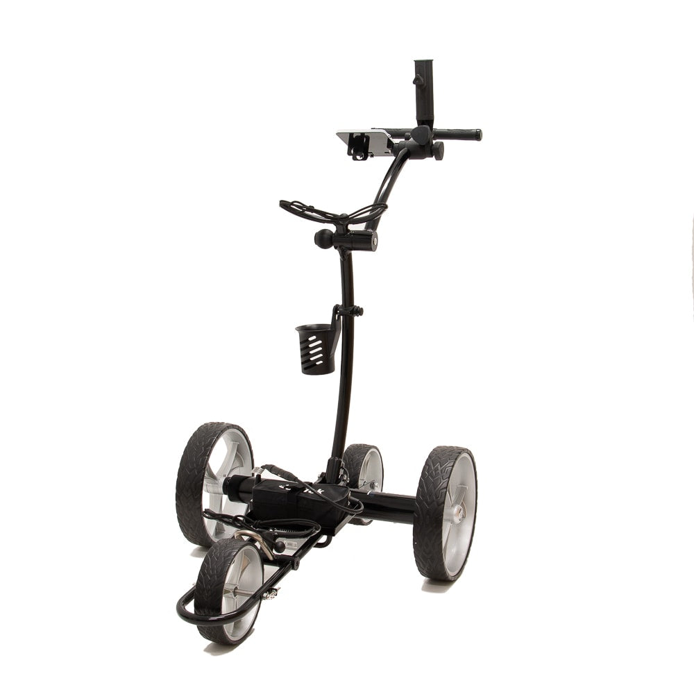Best Selling and Value Cart Tek GRi-1500Li Black Remote Controlled Golf Caddie. Shown with included accessories. Front Side View