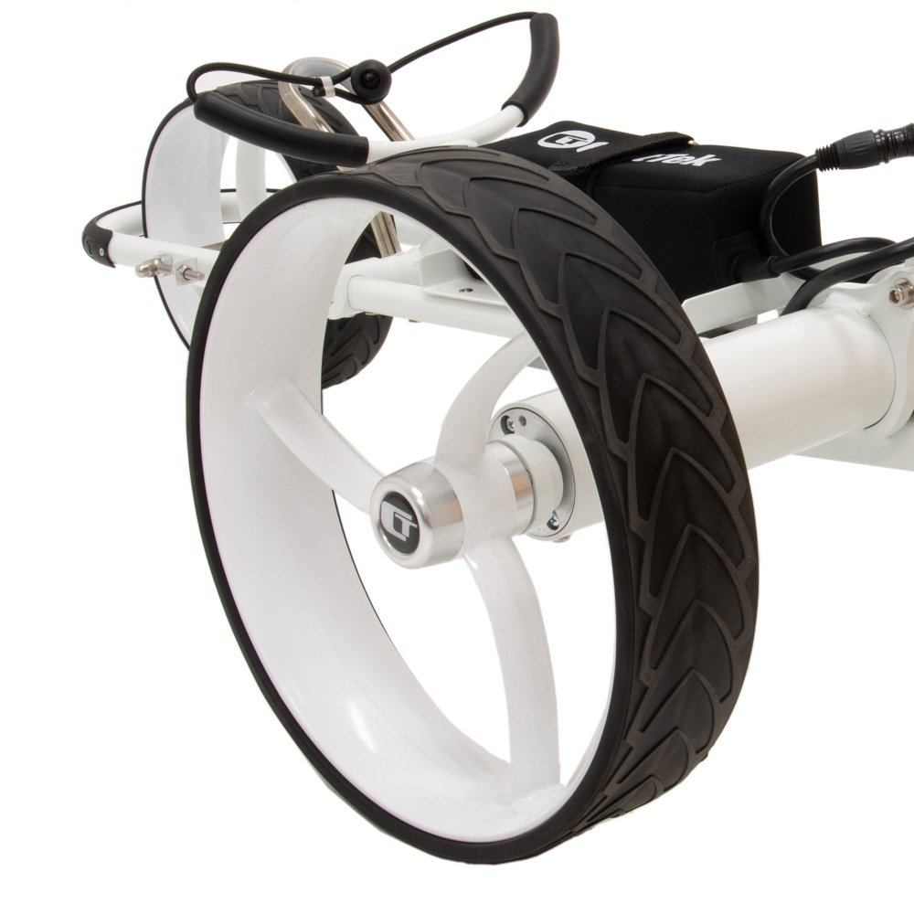 Best Selling Remote Controlled Golf Cart from Cart Tek: GRi-1500Li V2 in White - wheel close up