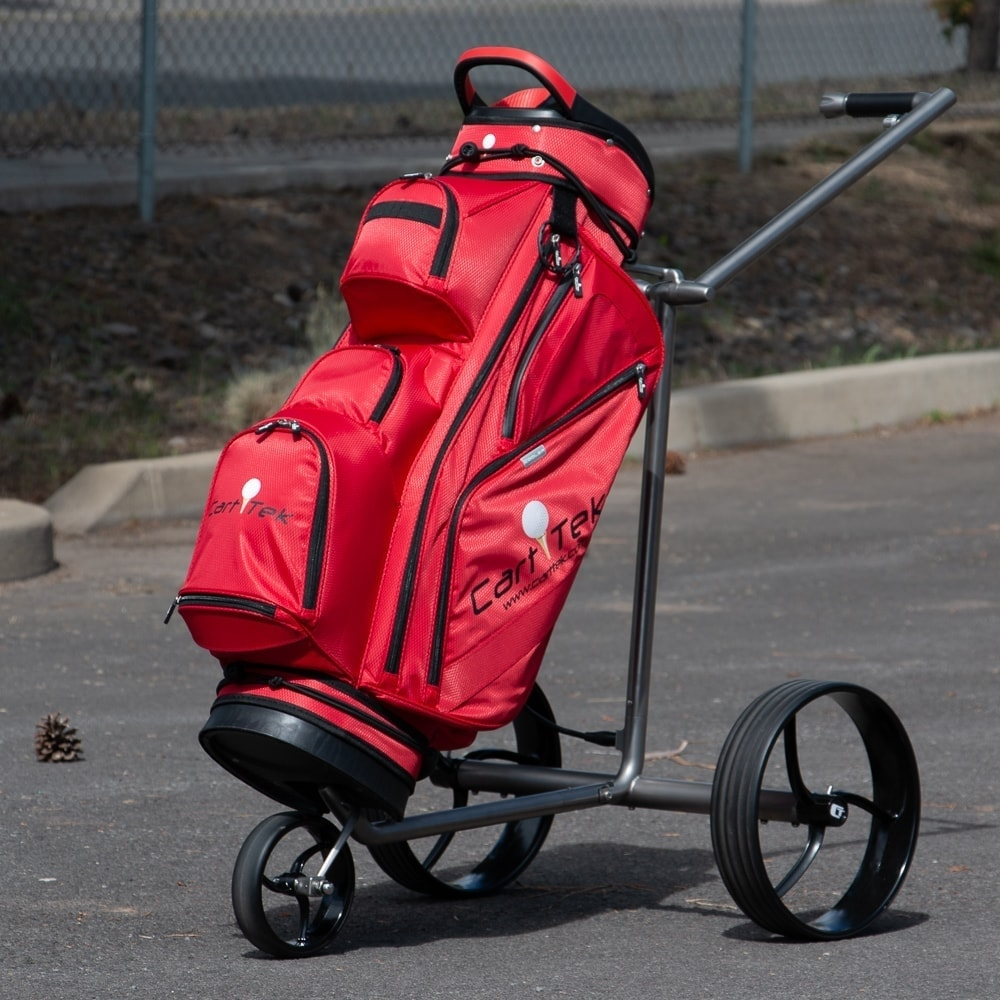 Galaxy Titan Extremely Lightweight Titanium Electric Golf Push Cart with Red Cart Golf Bag for sale by Cart Tek front view