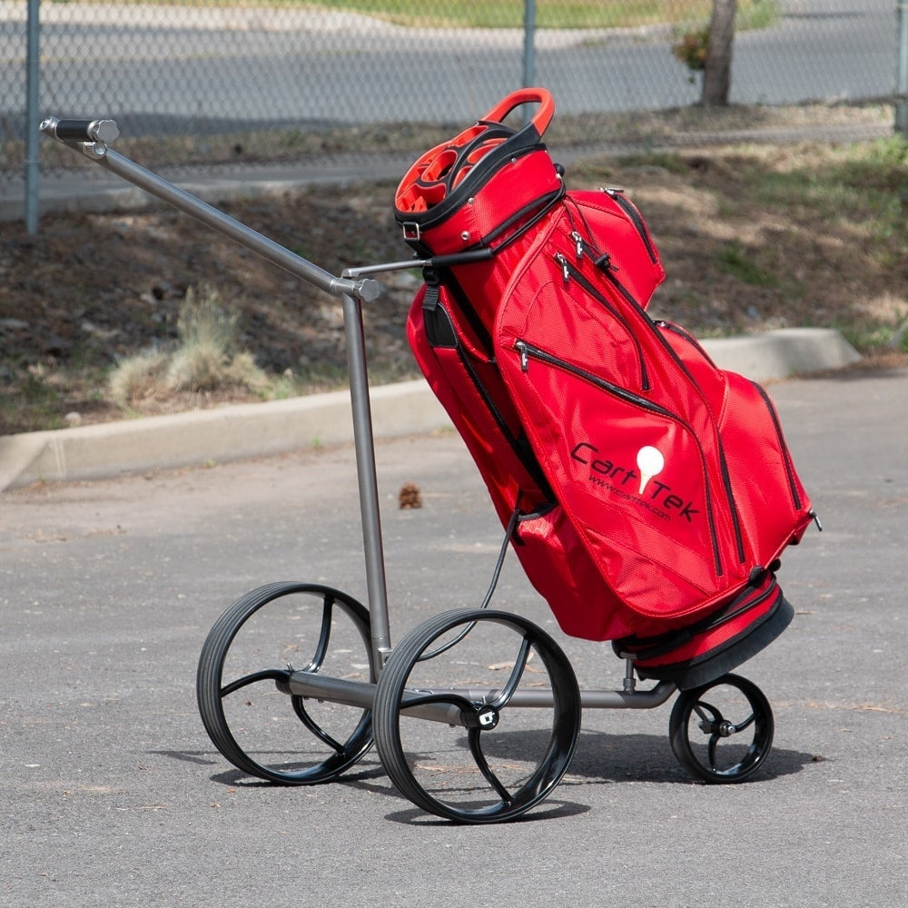 Galaxy Titan Extremely Lightweight Titanium Electric Golf Push Cart with Red Cart Golf Bag for sale by Cart Tek side view
