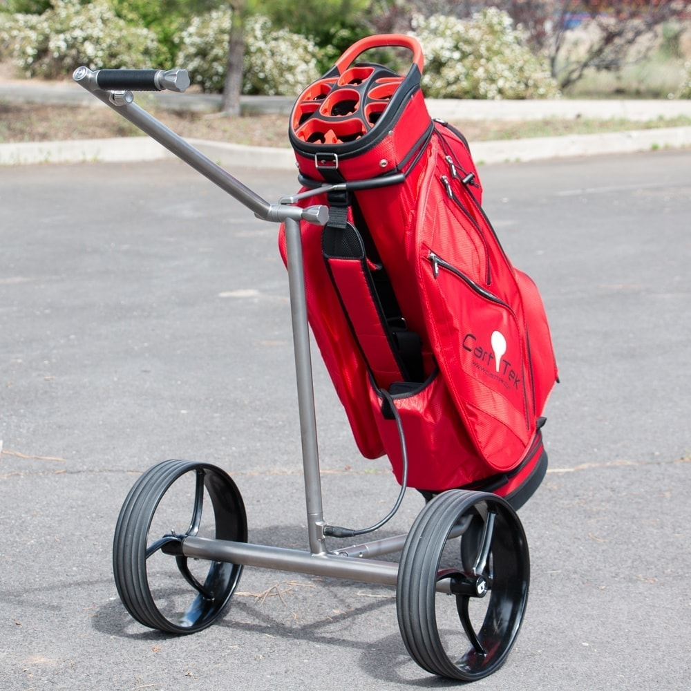 Galaxy Titan Extremely Lightweight Titanium Electric Golf Push Cart with Red Cart Golf Bag for sale by Cart Tek with rearward angle
