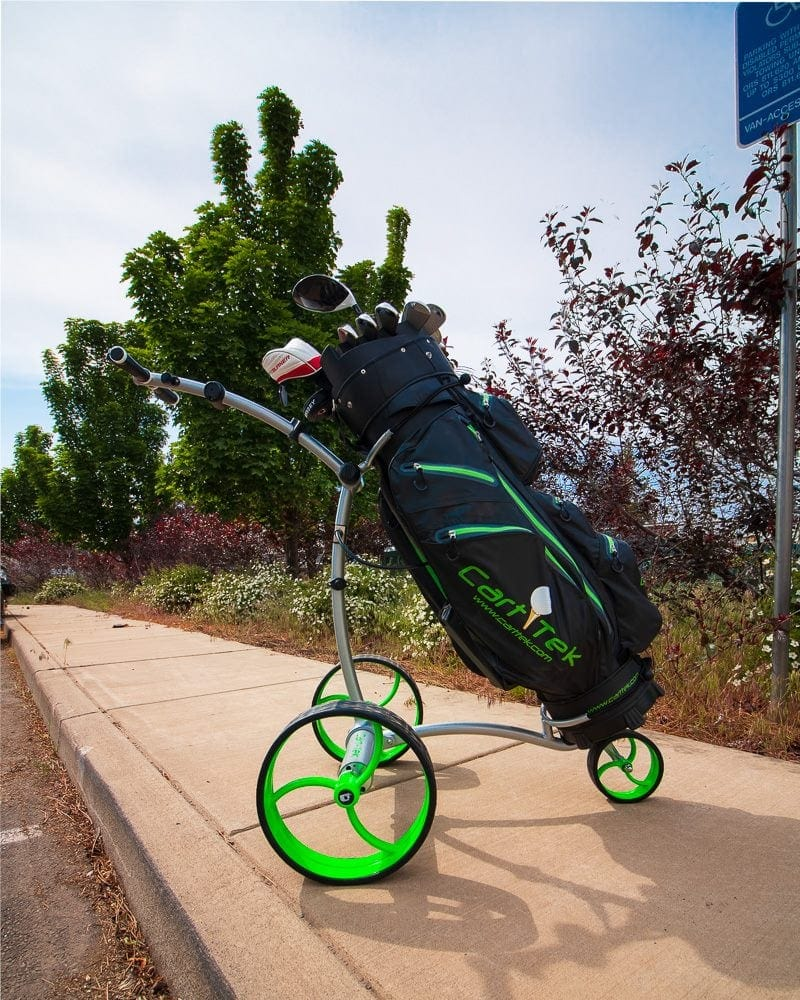 Silver Cart-Tek GRI-975Li battery powered electric golf trolley with green wheels and golf bag