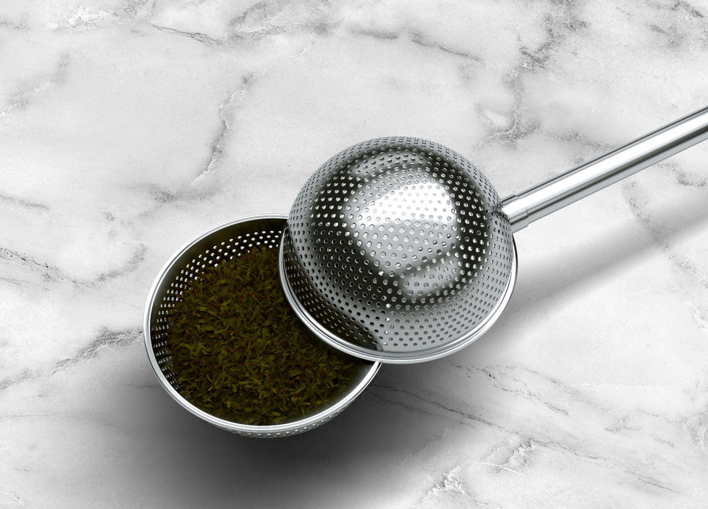 Schefs Premium Tea Infuser - Light Weight Stainless Steel - Large Capacity Ball with Long Spoon Handle - New Strainer Design