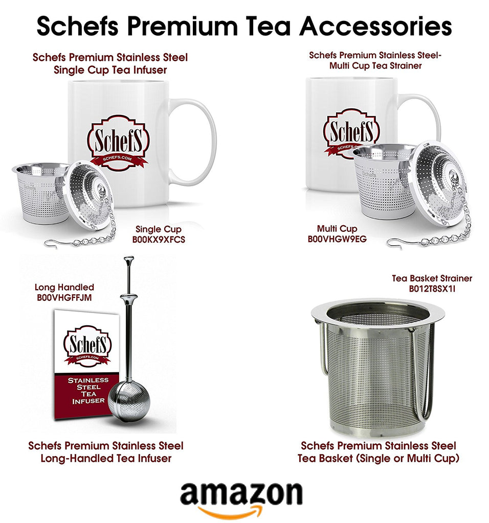 Schefs Multi Cup Premium Tea Infuser - Stainless Steel - Perfect Strainer for Loose Leaf Tea in the Kettle or for a Pitcher of Iced Tea.