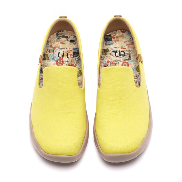 Barcelona Canvas Yellow Frauen Kunst gemalte Schuhe