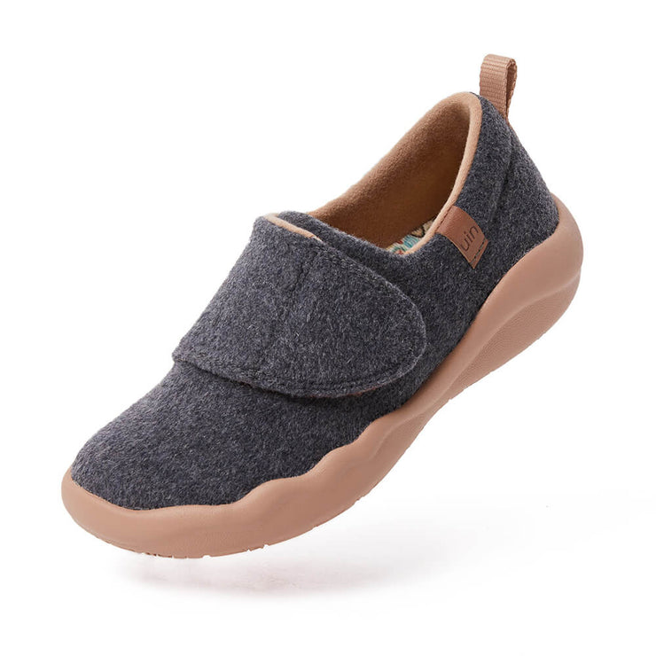 UIN Footwear Kid (Pre-sale) Toledo II Deep Grey Wool Kid Canvas loafers