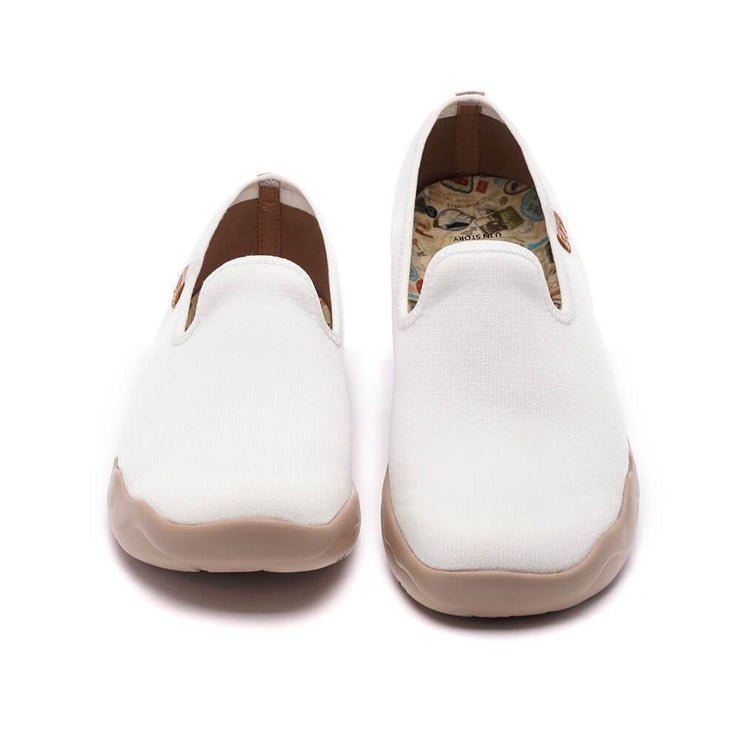 UIN Footwear Women Barcelona Knitted White Canvas loafers
