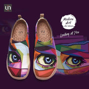 UIN Footwear Women Looking at You Multicolored Art Female Slip-ons Canvas loafers