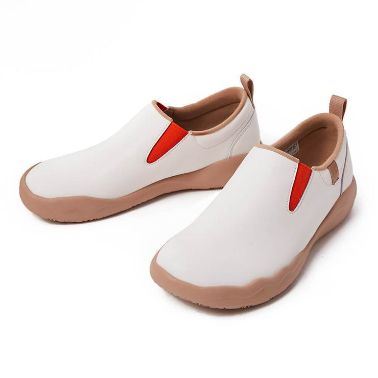 UIN Footwear Women (Pre-sale) Cuenca White Split Leather Women Canvas loafers