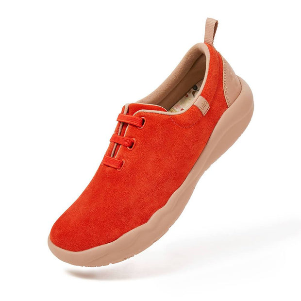 UIN Footwear Women (Pre-sale) Segovia Red Cow Suede Lace-up Shoes Women Canvas loafers