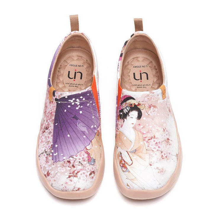UIN Footwear Women -Under the Cherry Tree- Women Painted Slip-on Casual Shoes Canvas loafers