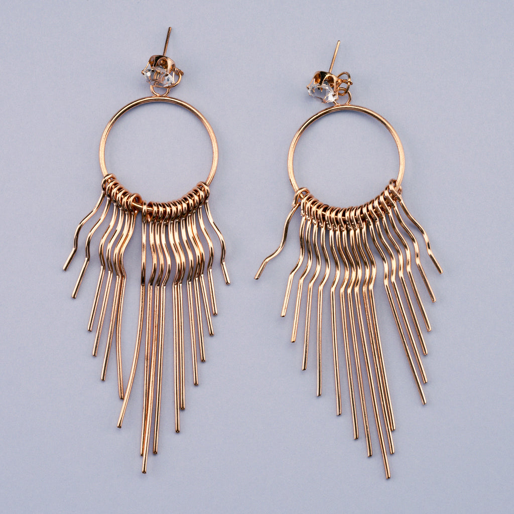 Long Gold Fringe Drop Earrings