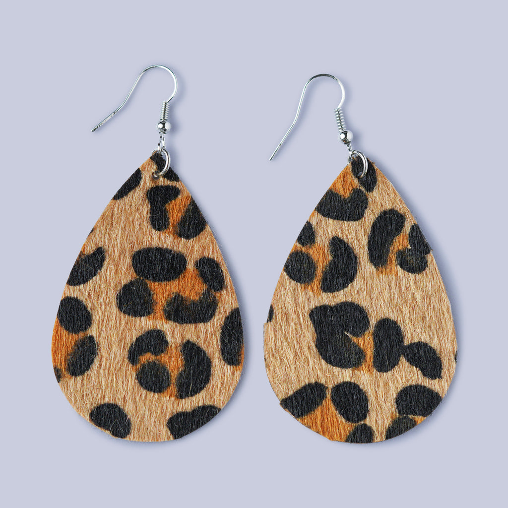 Textured Leather cut Leopard print Earrings - Tan