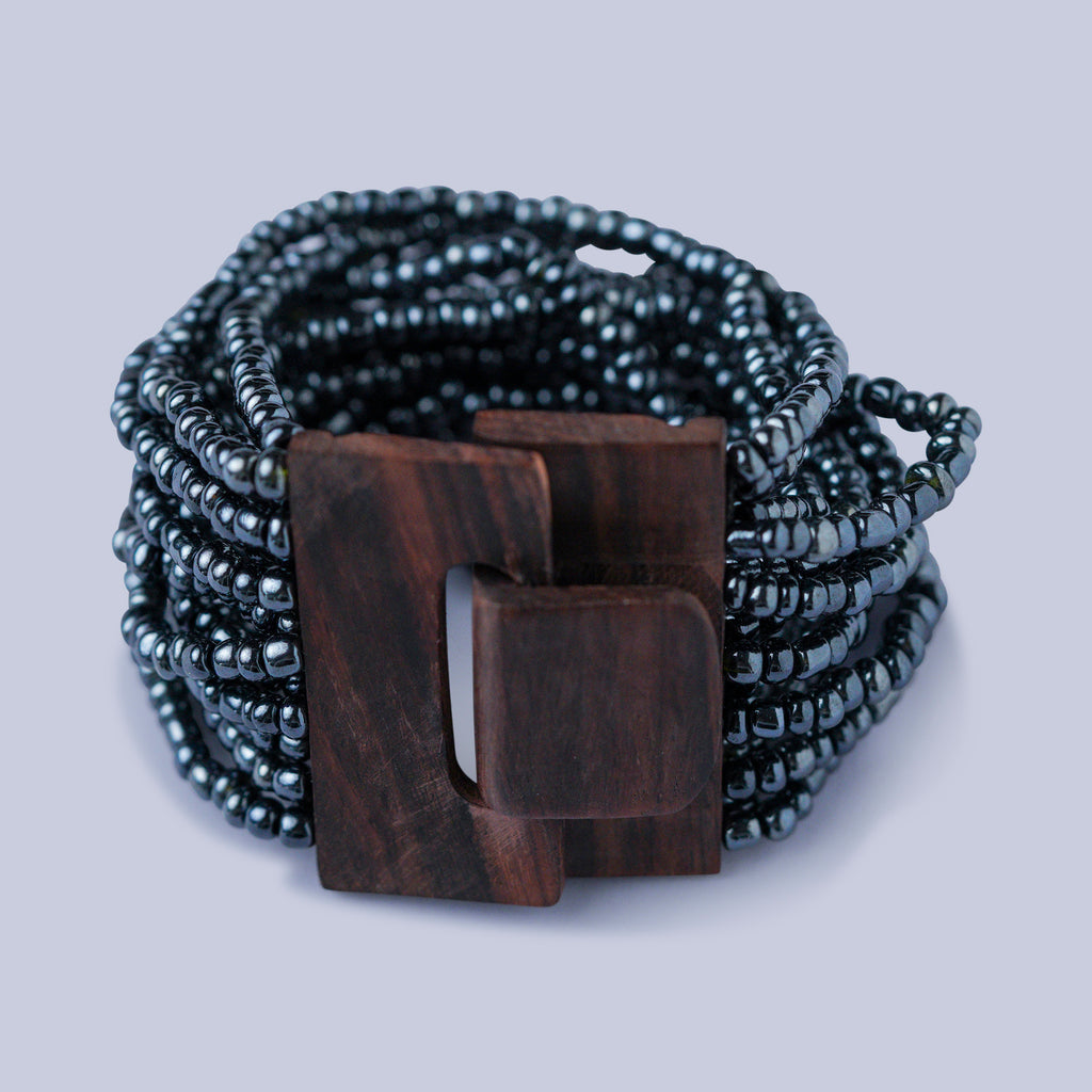 Silver Grey-Wooden Clasp Beaded Bracelet