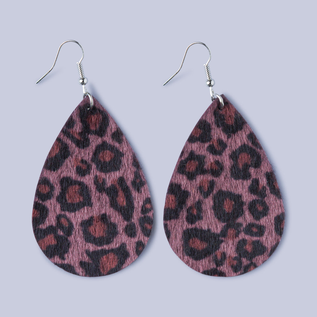 Textured Leather cut Leopard print Earrings - Purple