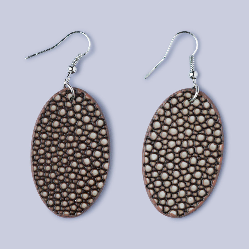 Snakeskin Effect Earrings - Black