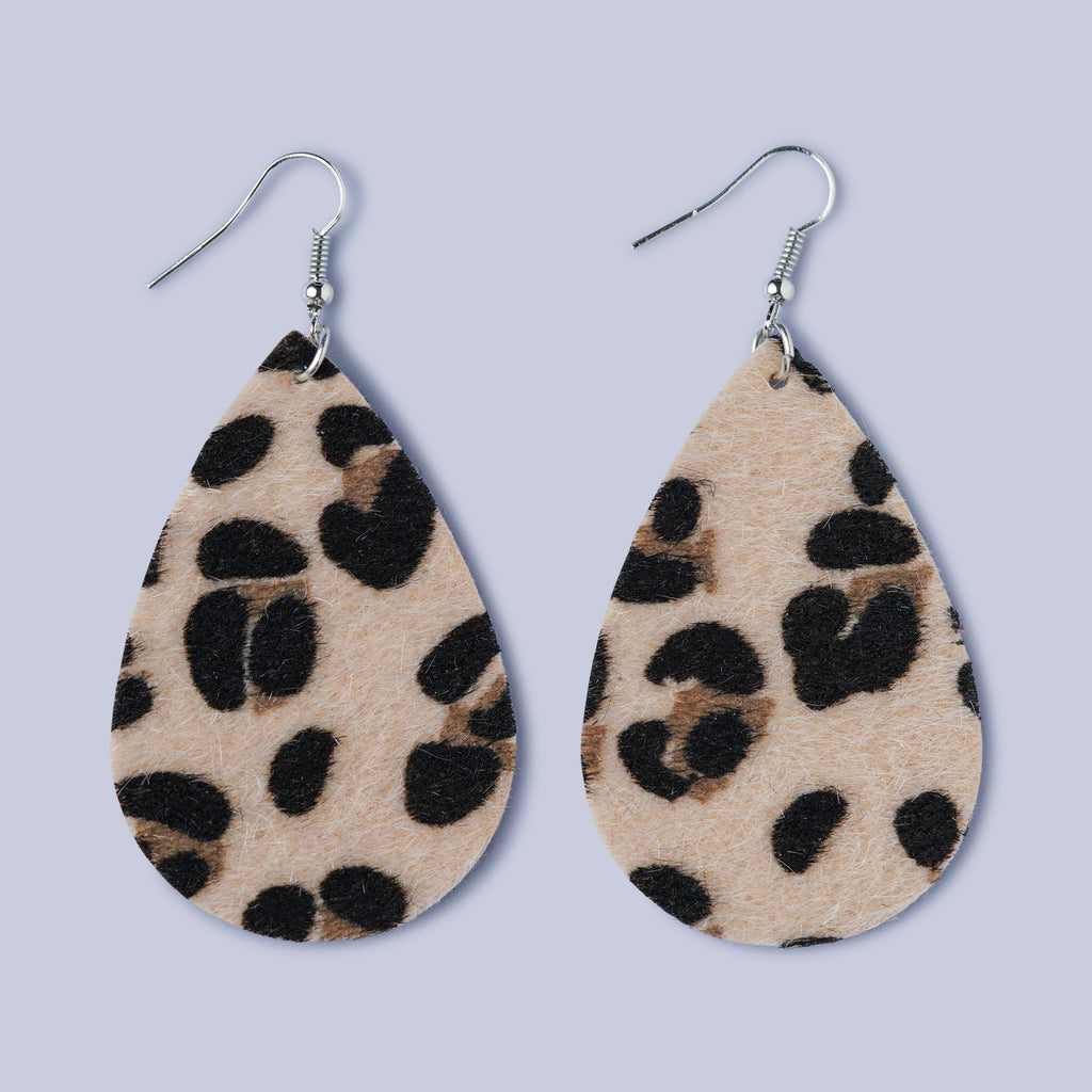Textured Leather cut Leopard print Earrings - Light Tan