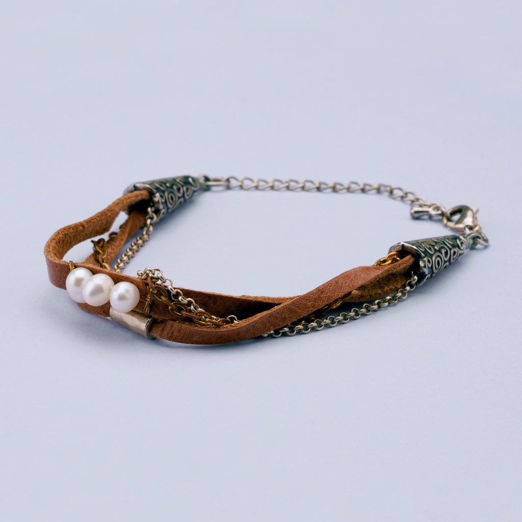 Leather, Chain and Pearl Bracelet