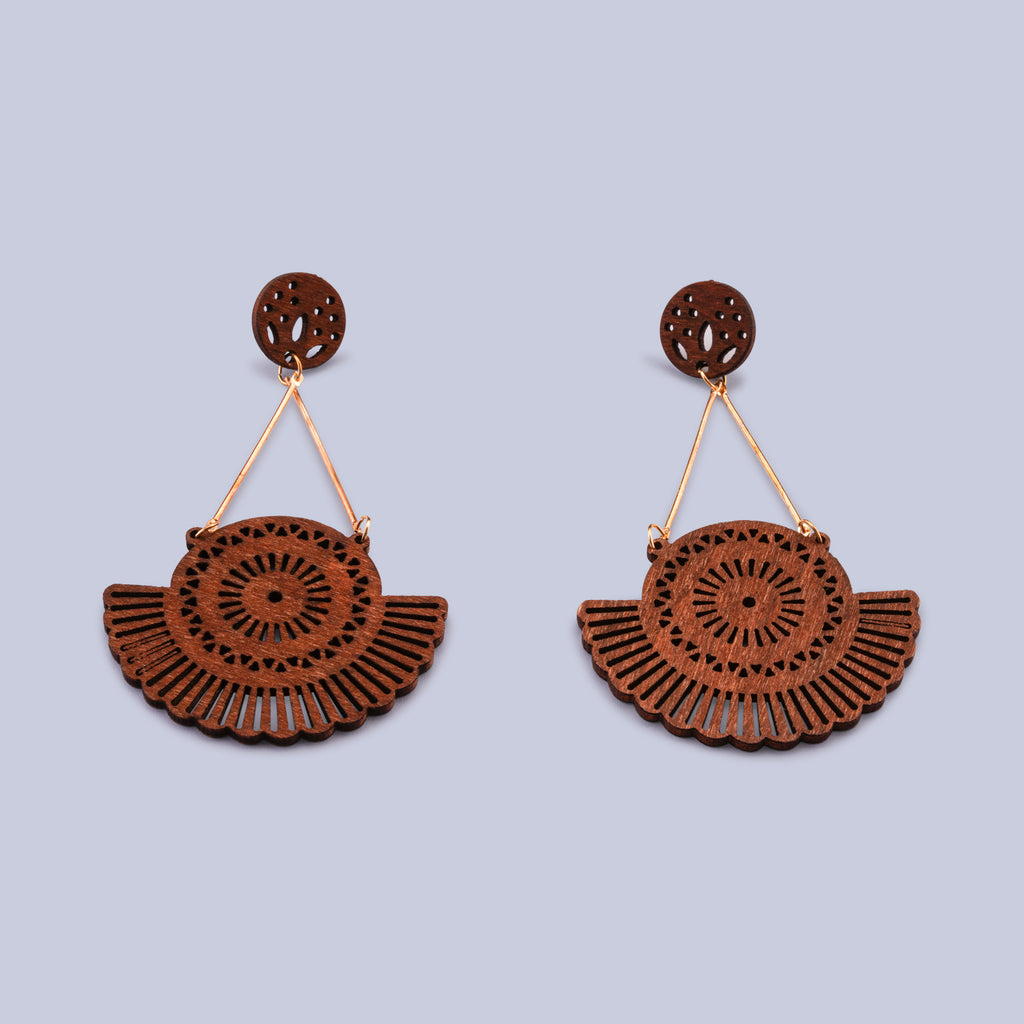 Hand Carved Wooden Statement Earrings