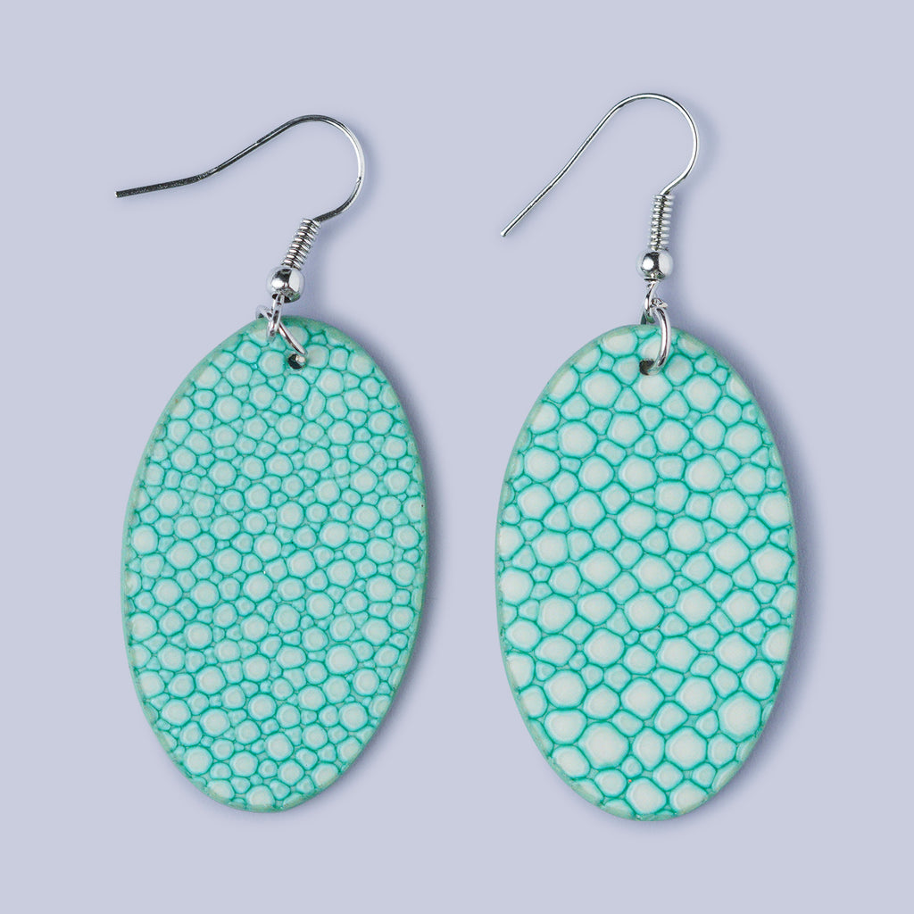 Snakeskin Effect Earrings - Pale Green
