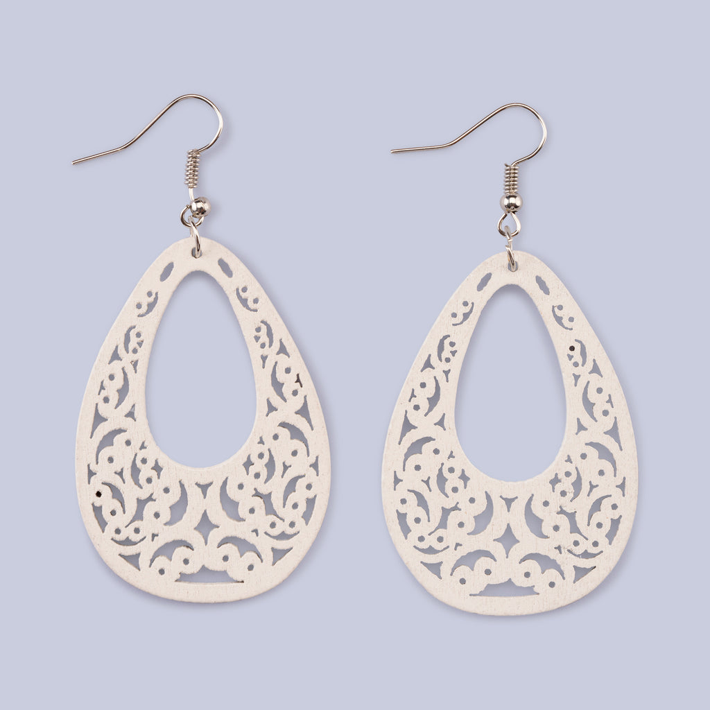 Wooden White Earrings
