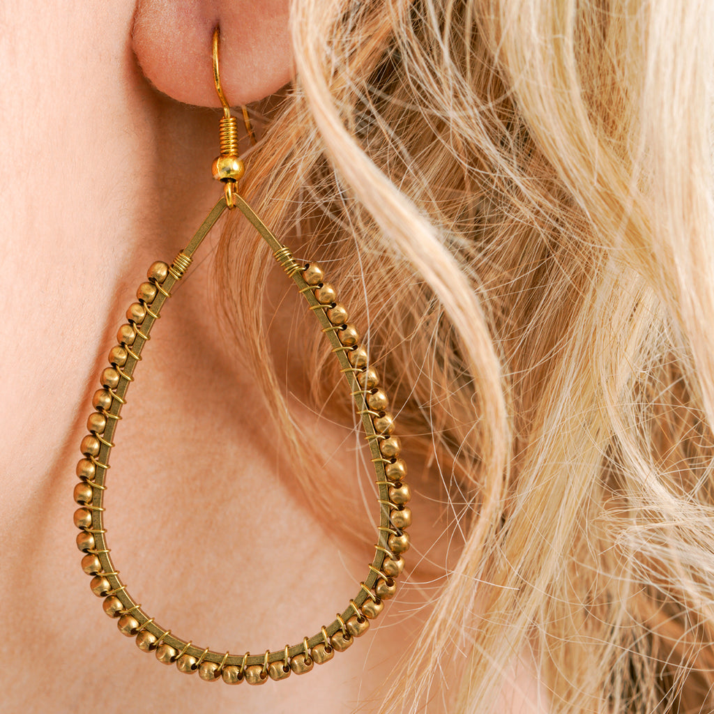 Gold Beaded Tear Drop Earrings