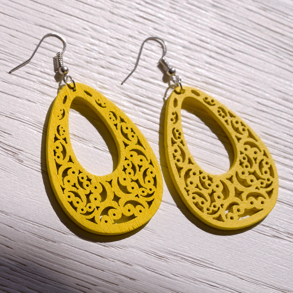 Wooden Yellow Earrings