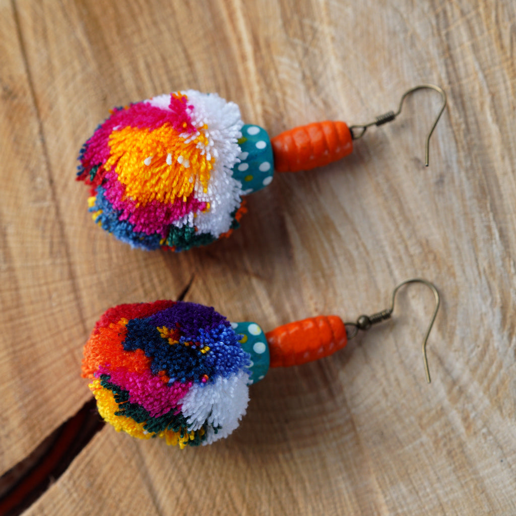 Multi Colour Pom Pom & Bead Drop