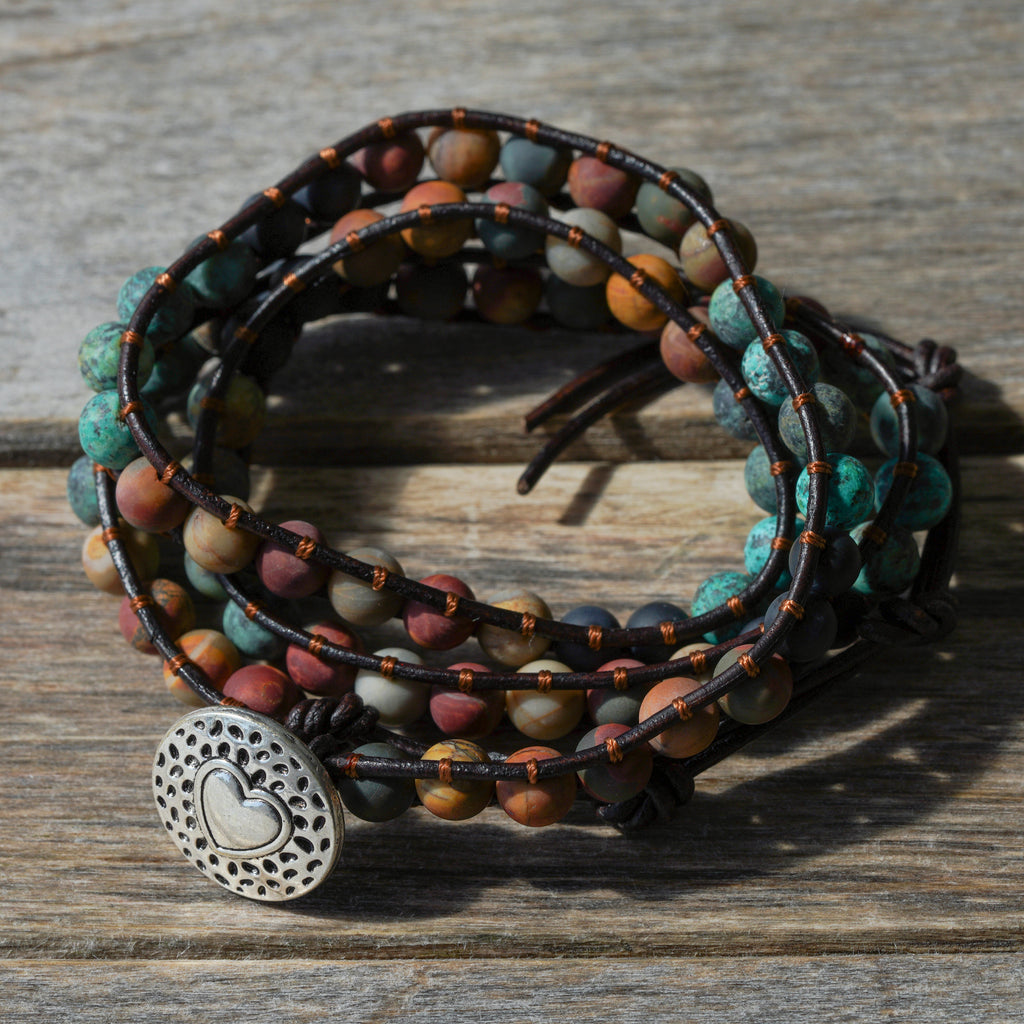 Natural Onyx and Jasper Wrap Bracelet