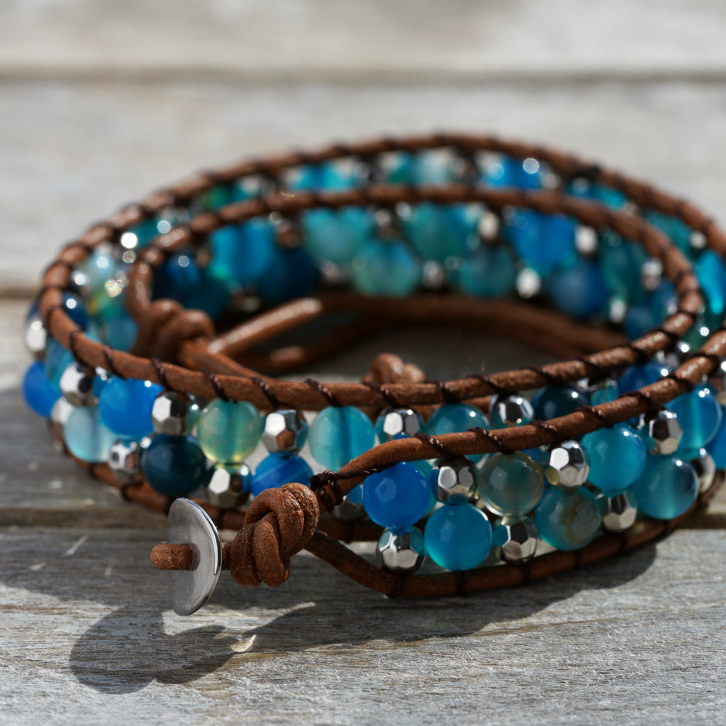 Blue and Silver Wrap Bracelet