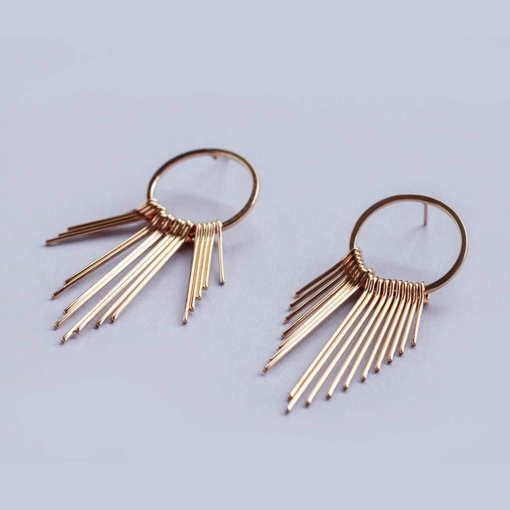 Small Gold Fringe Drop Earrings