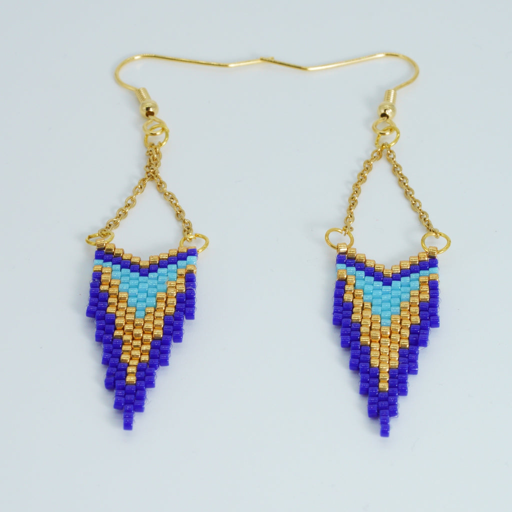 Blue and Gold Seed Bead Earrings