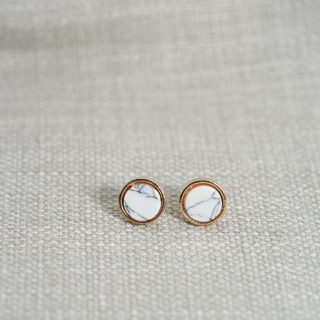 Marble White Stud Earrings