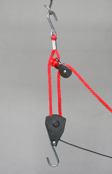 "Locking Ratchet Pulley -  3/8"" Rope - 250 lbs Capacity - 10 gallons or more"