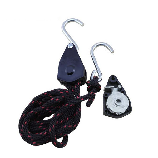 "Locking Ratchet Pulley - 1/4"" Rope - 150 lbs Capacity - 5 gallons or less"