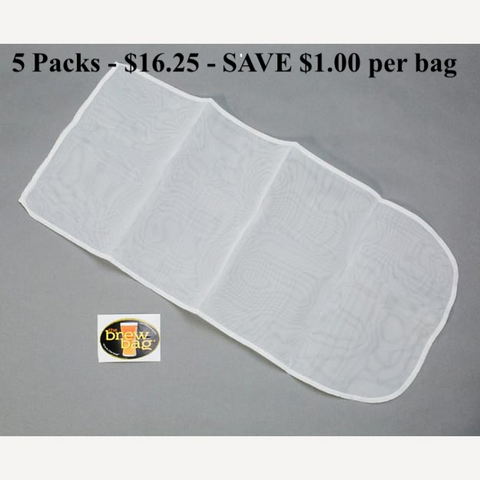 "Hop / Infusion Bag - 200 Micron - 5 pack - $3.25 each D = 6"" x  H = 23"""