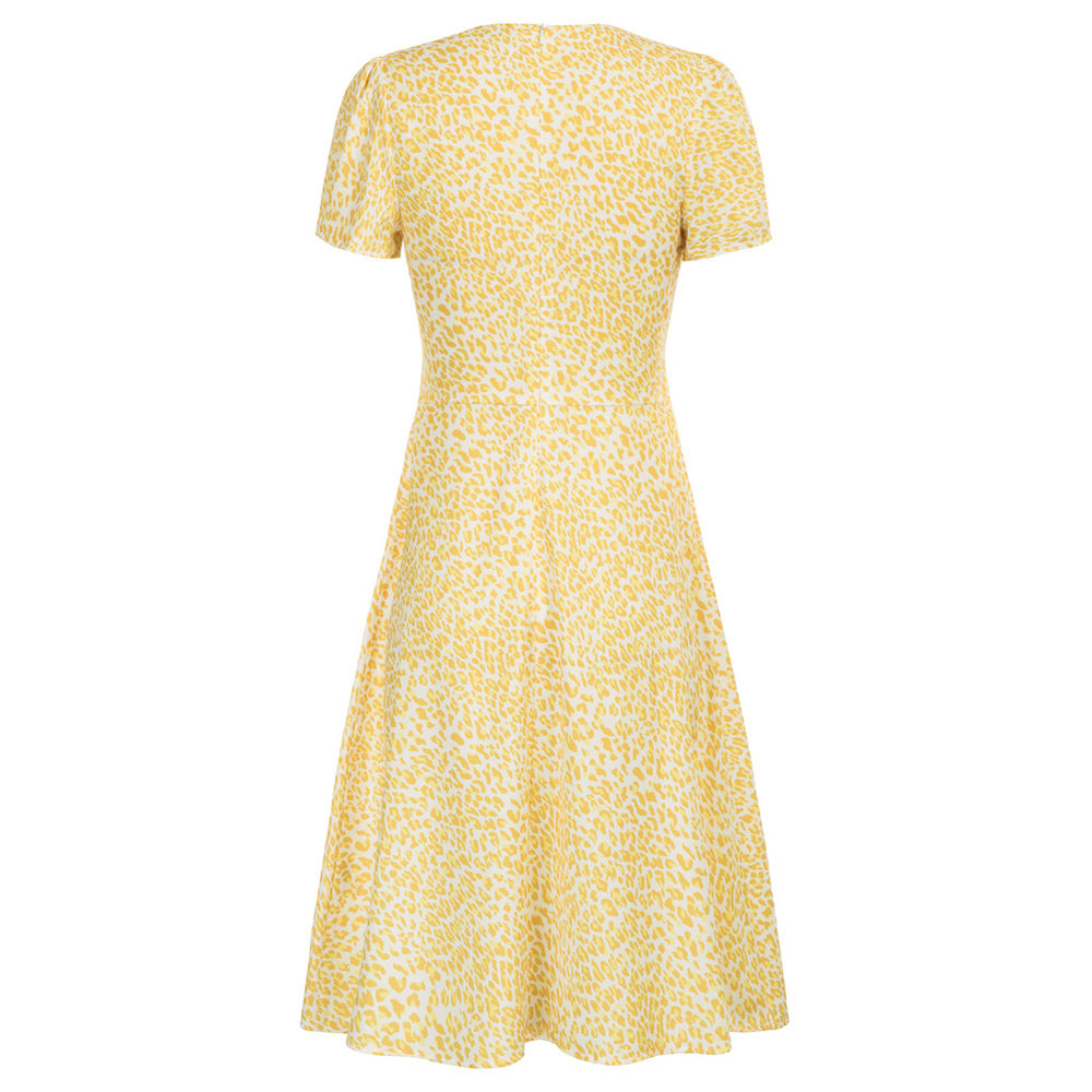 Grace Karin Leopard/Daisy Pattern A-Line Dress