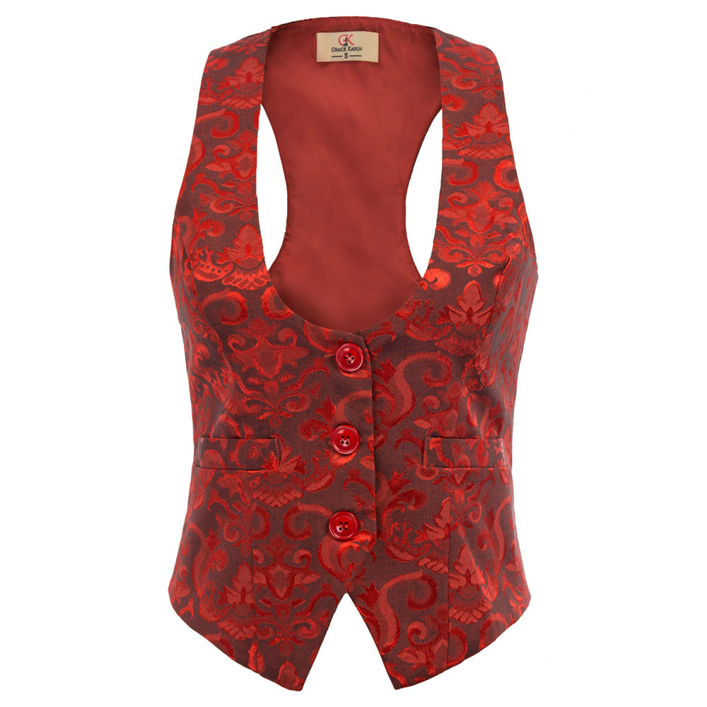 Load image into Gallery viewer, Grace Karin Jacquard 3-Buttons Waistcoat