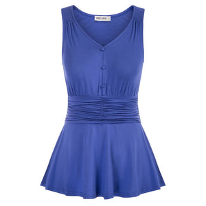 Grace Karin Sleeveless Peplum  Ruched Waistline Tops
