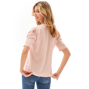 Grace Karin 1/2 Puffed Sleeve Loose Fit Blouse
