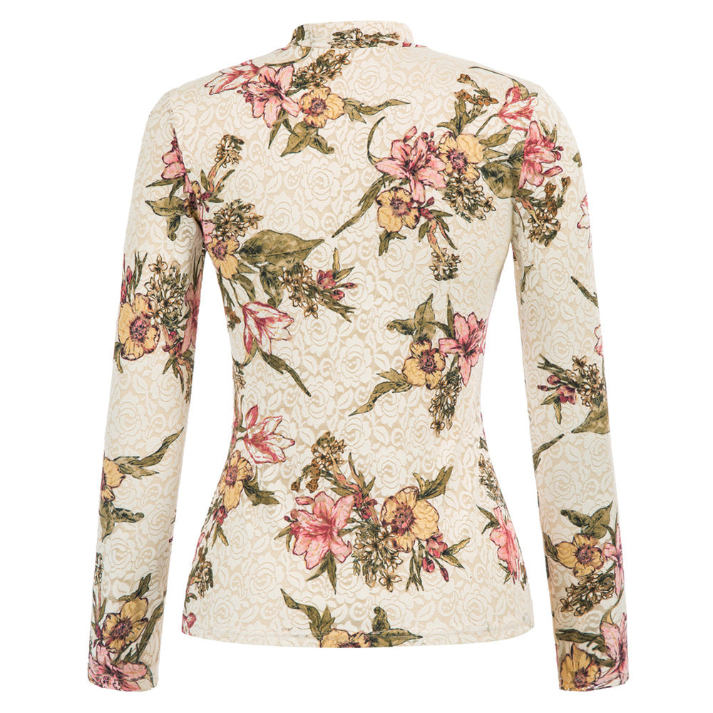 Grace Karin Floral Lace Long Sleeve High Neck Tops