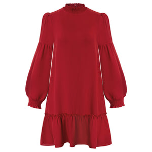 Grace Karin Lantern Sleeves Ruffled Loose Fit Dress