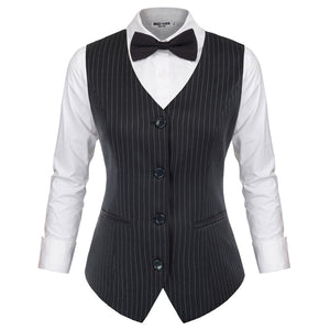 Load image into Gallery viewer, Grace Karin Single Breasted Pinstripe Vest Coat