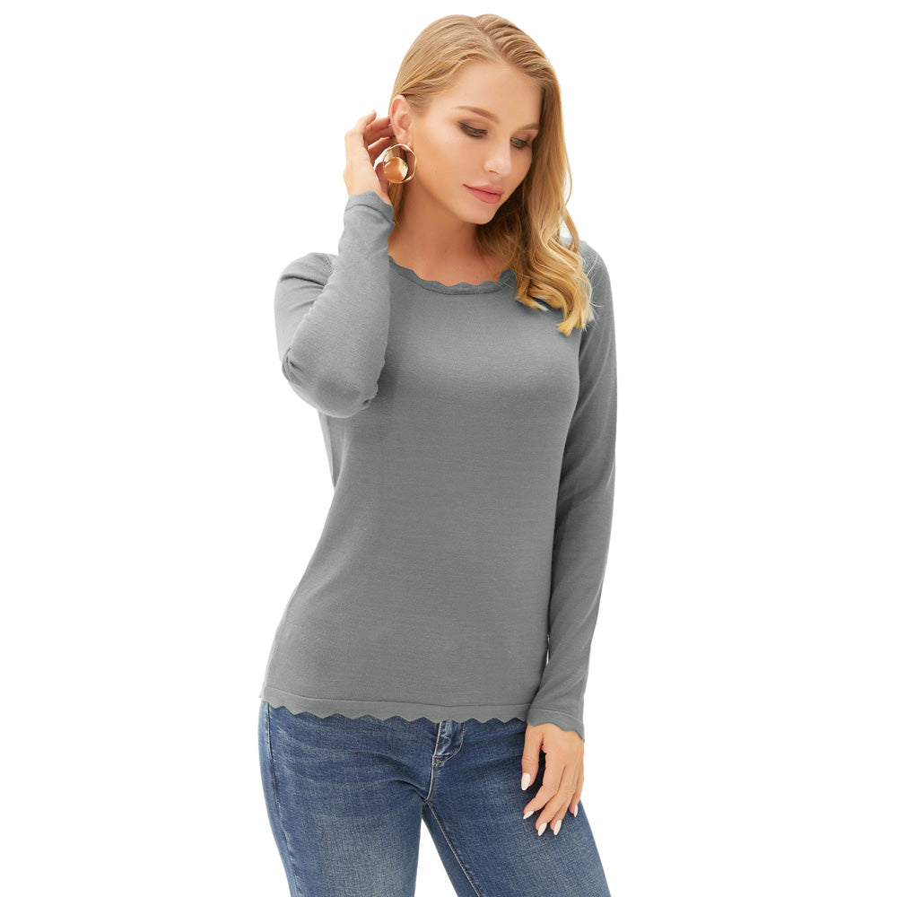 Grace Karin Scalloped Neck Knitwear Tops