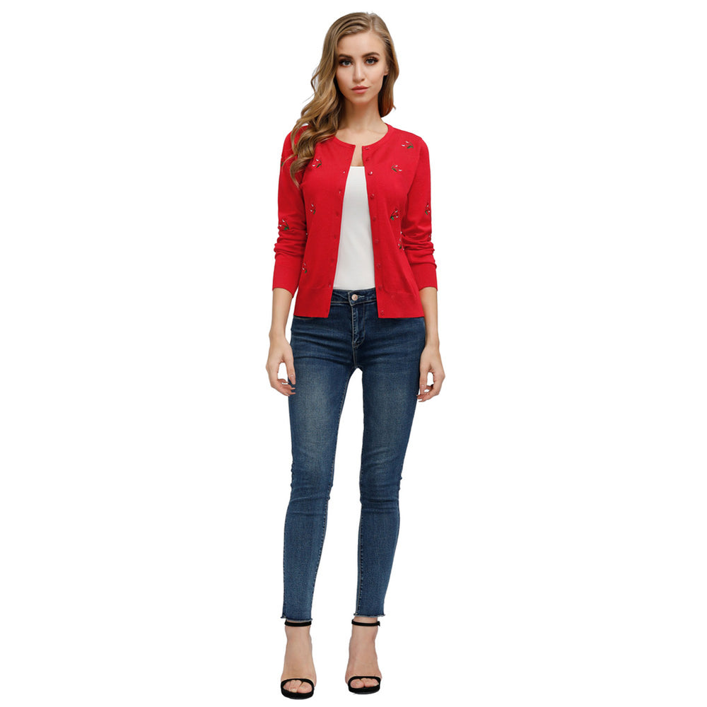 Grace Karin Curlbiuty Cherries Embroidery Cardigan